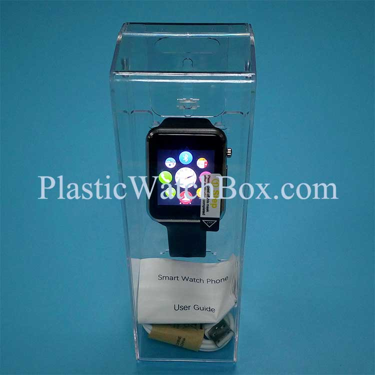 High Quality Smart Watch Clear Display Plastic Storage Box Customize Paper Artwork SWB-6049