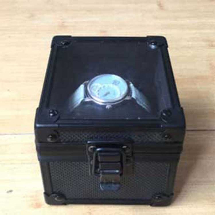 Black Aluminum Watch Case With Pillow Inside and Clear Acrylic Box Window Hot Sale YK-LS-602